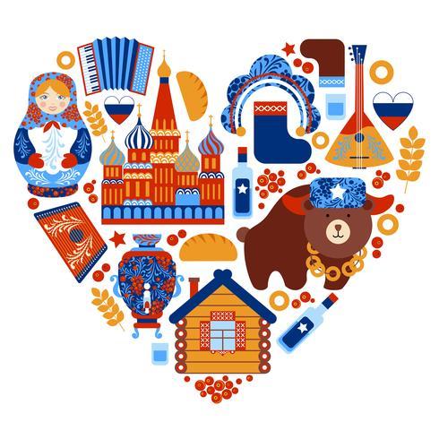 Conjunto de coração de viagens na Rússia
