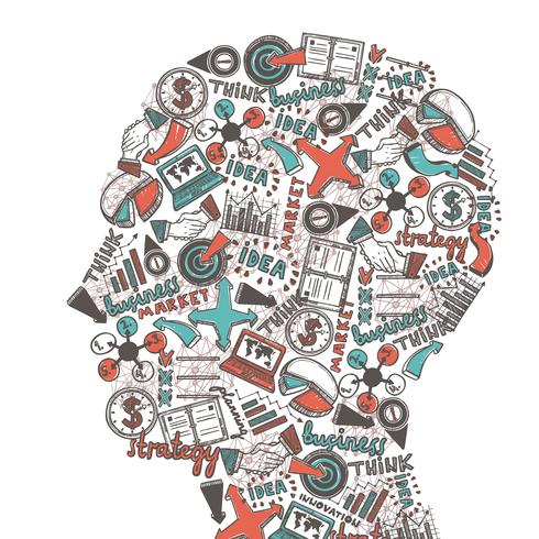Menselijk hoofd met pictogrammen