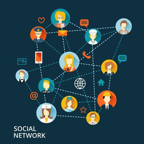Concepto de red profesional global. vector