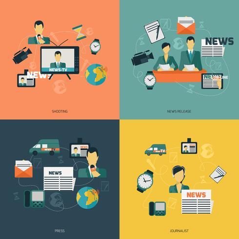 Noticias iconos planos vector