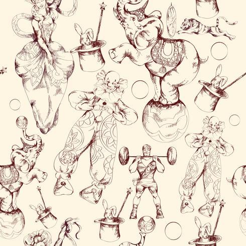 Modelo inconsútil del bosquejo del doodle del circo vector