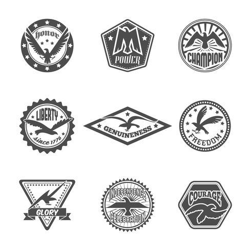 Conjunto de iconos de etiqueta águila