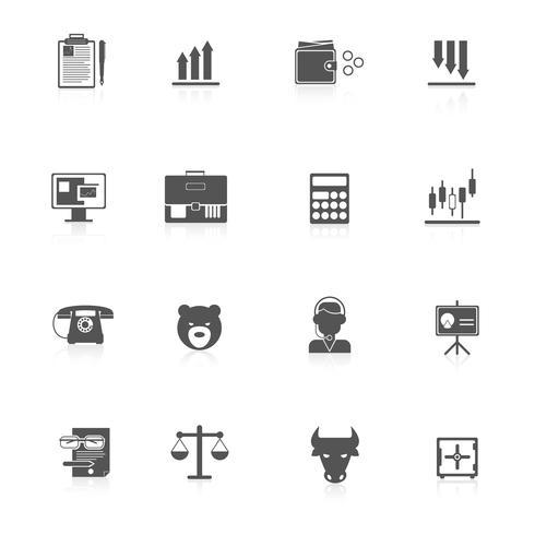 Finance exchange icons black vector