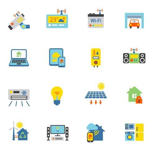 icônes de maison intelligente plat