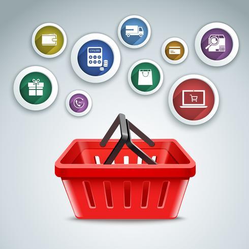 Iconos de la cesta de compras vector