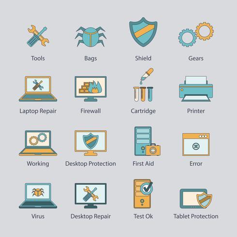 Conjunto de iconos de línea plana de reparación de computadoras