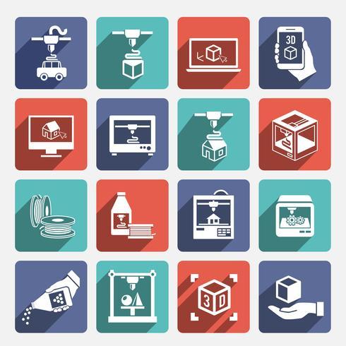Impresora 3d iconos