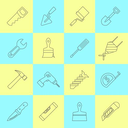 Home reparatie tools pictogrammen vector