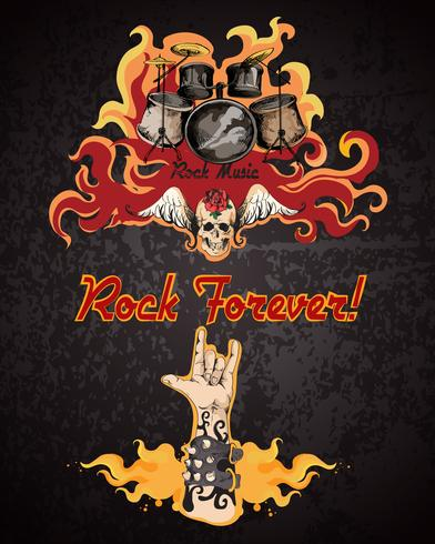 Cartel de musica rock vector