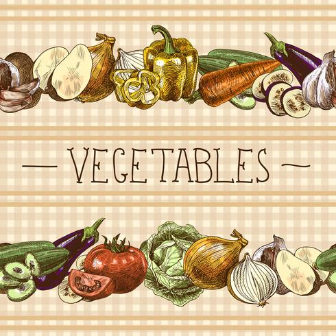 Frontera de patrones sin fisuras de verduras vector