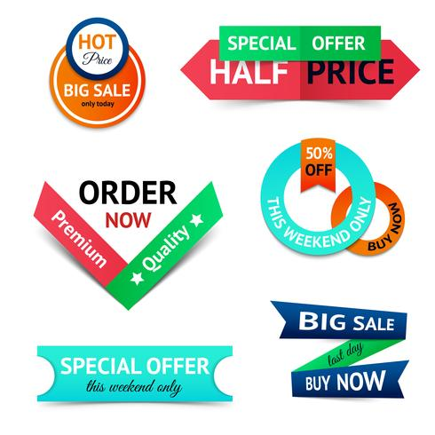 Sale discount origami banners vector