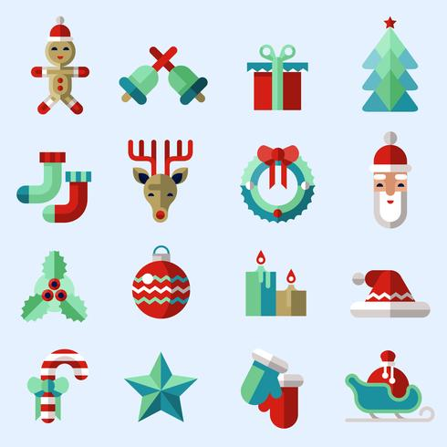 Christmas icons set color