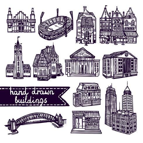 Skizzieren Sie Stadtgebäudesatz