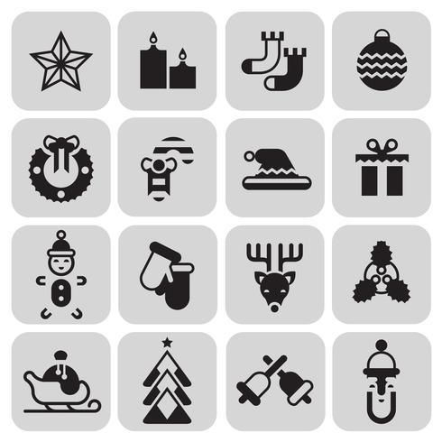 Conjunto de ícones de Natal preto vetor