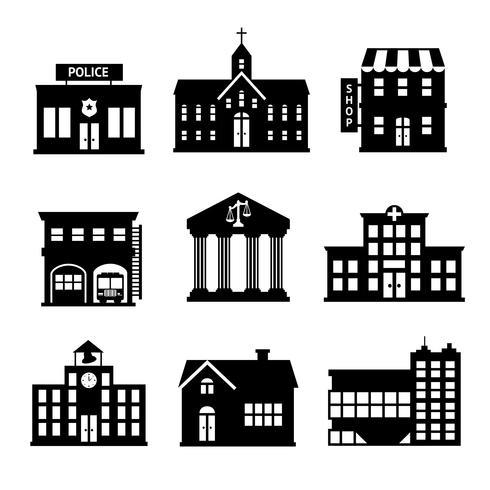 Iconos de edificios gubernamentales en blanco y negro