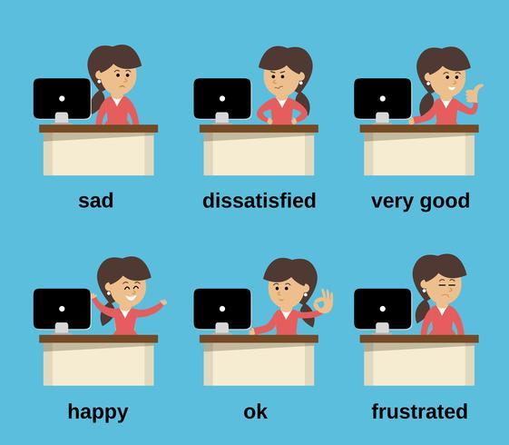 Zakenvrouw werkende emoties instellen