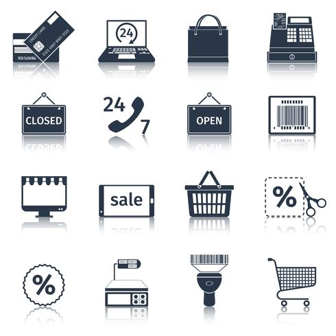 Le icone di e-commerce sono nere