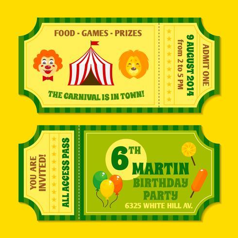 Modello di biglietti di circo vettore