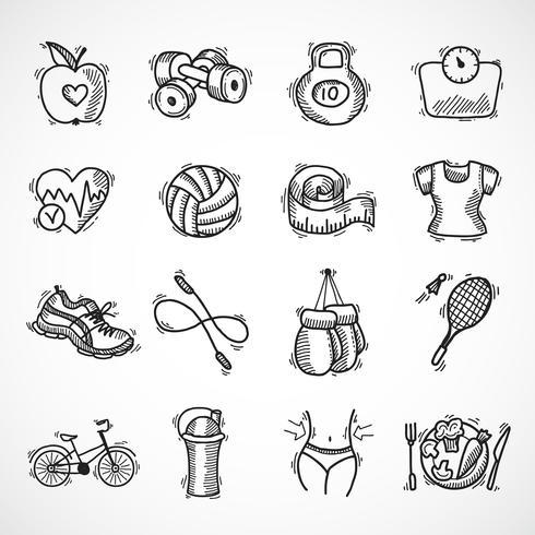 Fitness schets iconen set vector