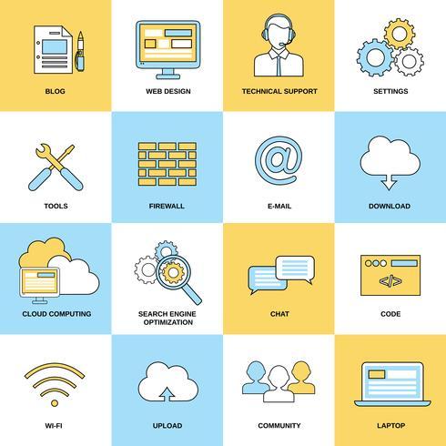 Iconos de línea plana web vector