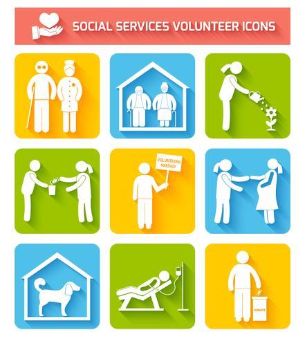 Conjunto de ícones voluntários planas