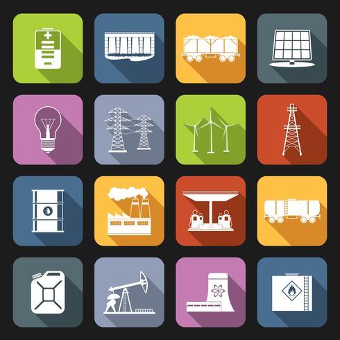 Energie pictogrammen Flat Set vector