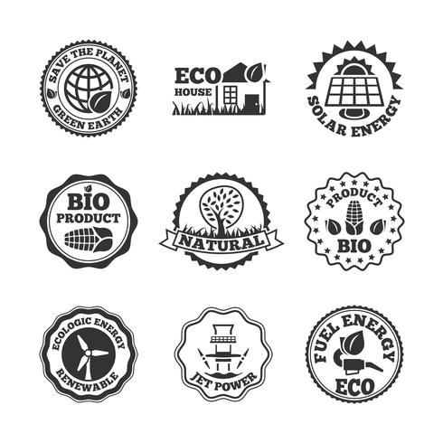 Conjunto de etiquetas de energía ecológica. vector