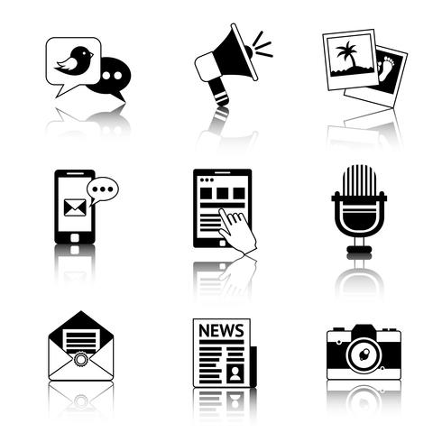 Ícones de mídia preto e branco