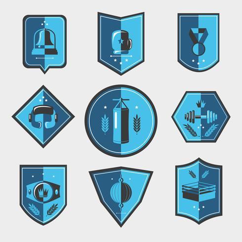 Conjunto de emblemas de boxeo vector