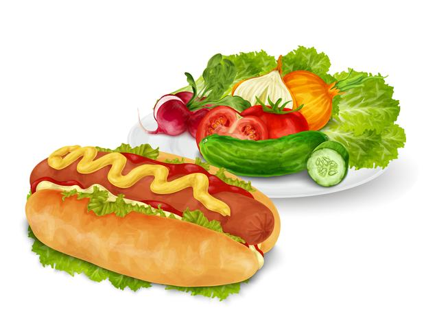 Cachorro-quente com legumes vetor