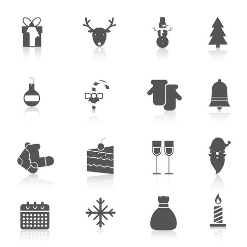 Christmas icons set black vector