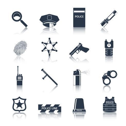 Icônes de police mis en noir vecteur