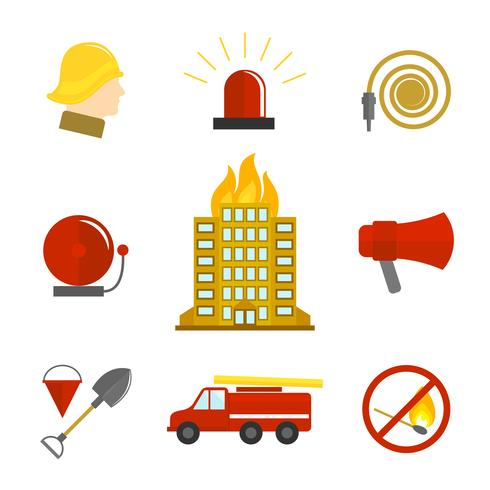 Iconos de extinción de incendios planos. vector