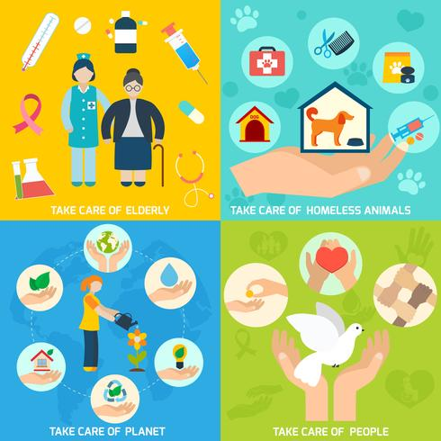 Charity icons set flat vector