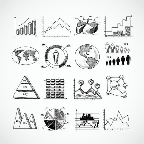 Conjunto de diagramas de croquis. vector