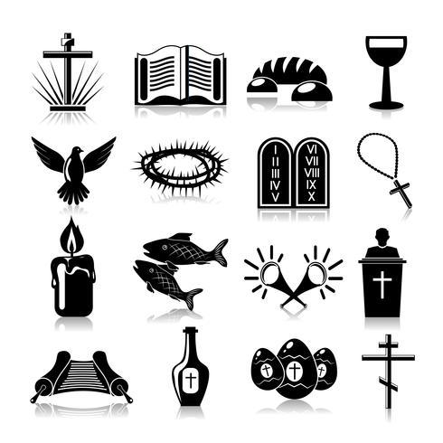 Conjunto de iconos de cristianismo negro