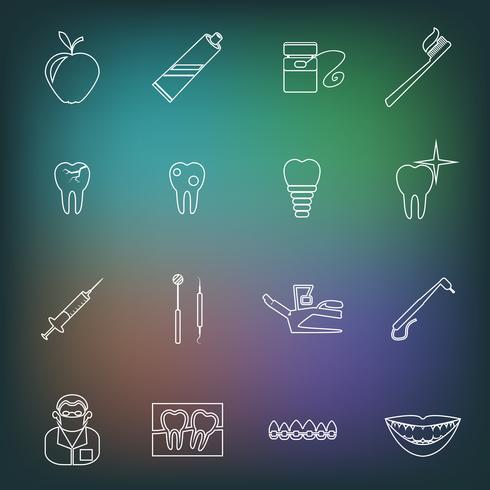 Esquema de los iconos dentales vector