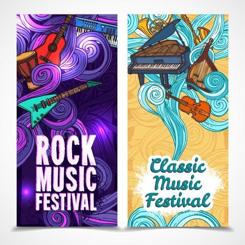 Banners verticais de música