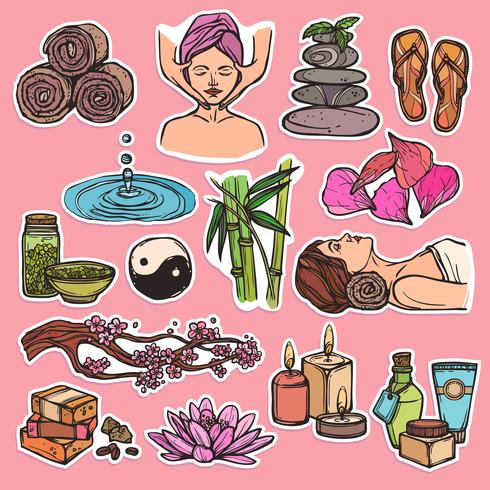 Color de iconos de bosquejo de spa vector