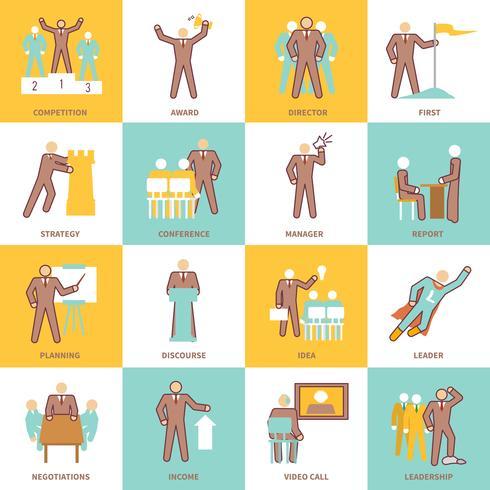 Linea piatta di icone di leadership