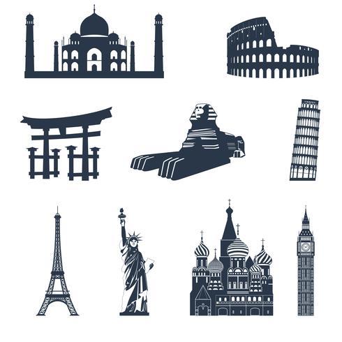 Lugares famosos del mundo negro vector