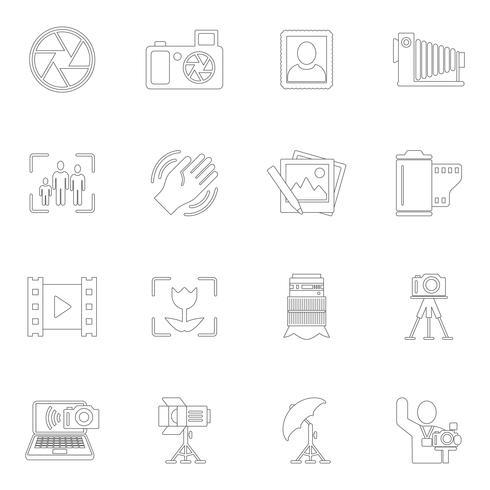 Contour des icônes de la photographie