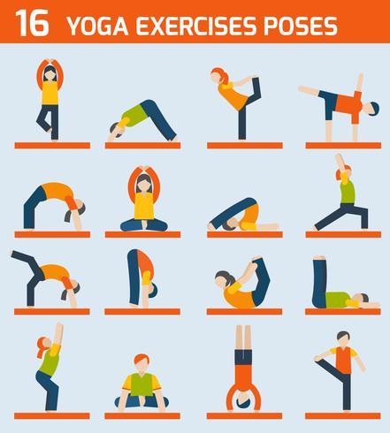Yoga exercises icons vector