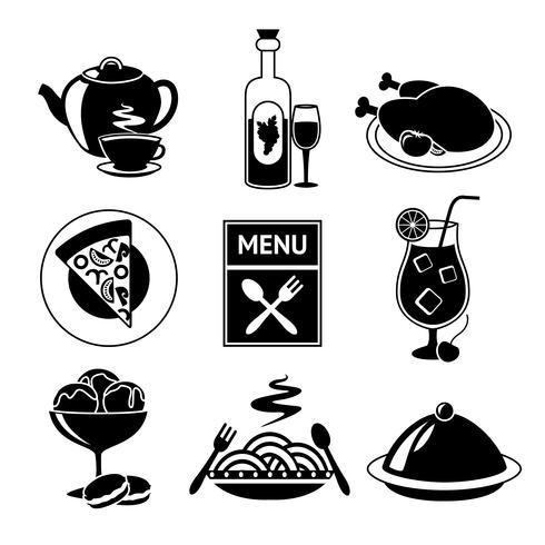 Ícones de comida de restaurante preto e branco