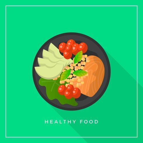 Flat Healthy Meals Mat Vector Illustration