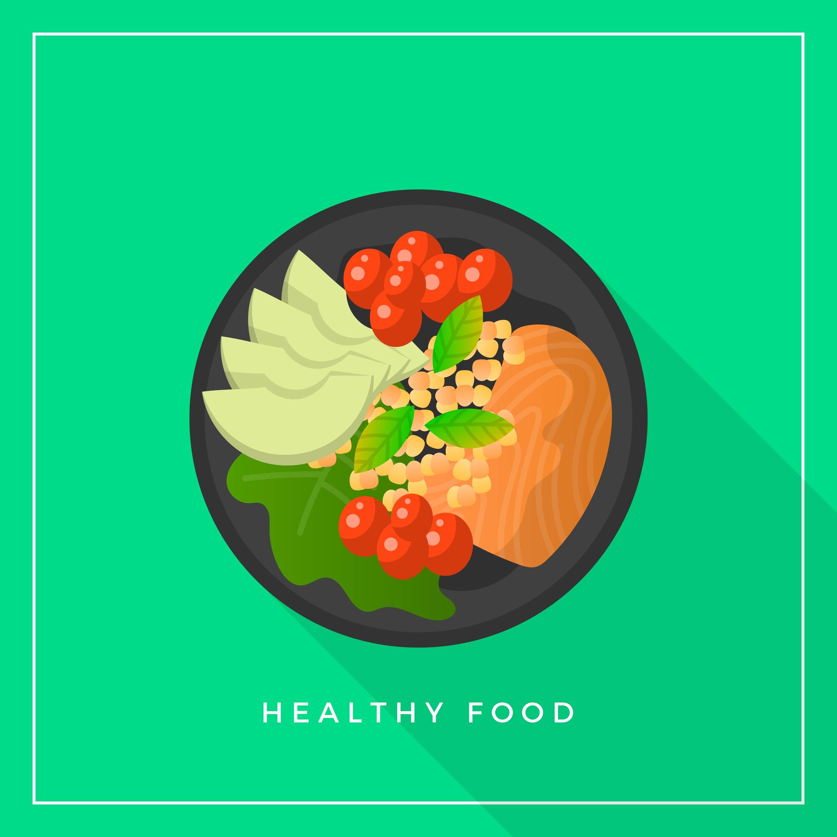 Flat Healthy Meals Food Vector Illustration 454520