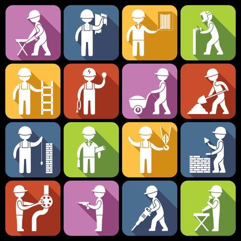 Byggnadsarbetare ikoner vit vektor