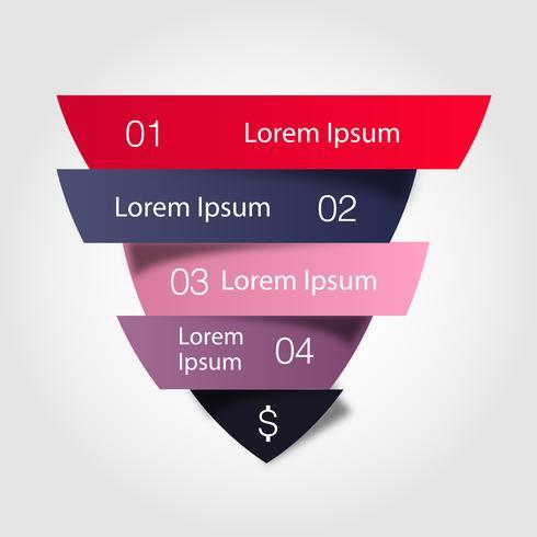 Försäljningstratt. Vector business infographic.Illustration av färg triangel uppdelad klippa till fyra delar med liten skugga.