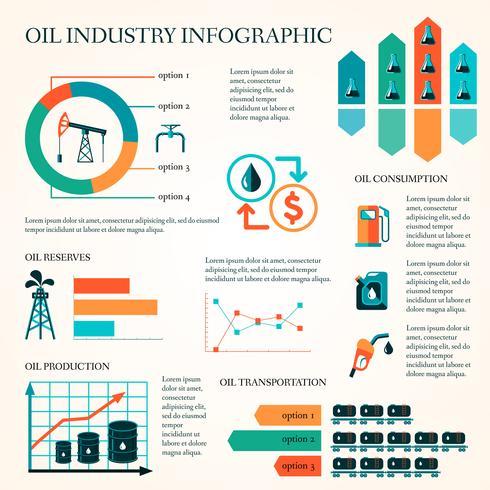 Infografía de producción de petróleo. vector