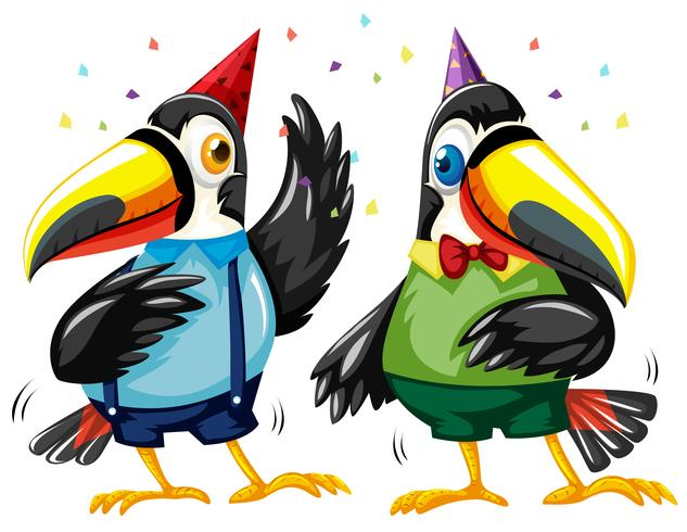 Two toucan birds dancing at party